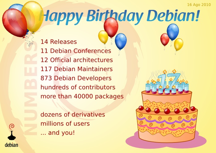Happy 17 birthday Debian!